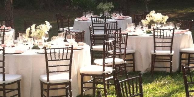 Ivory and peach Spring garden wedding rentals