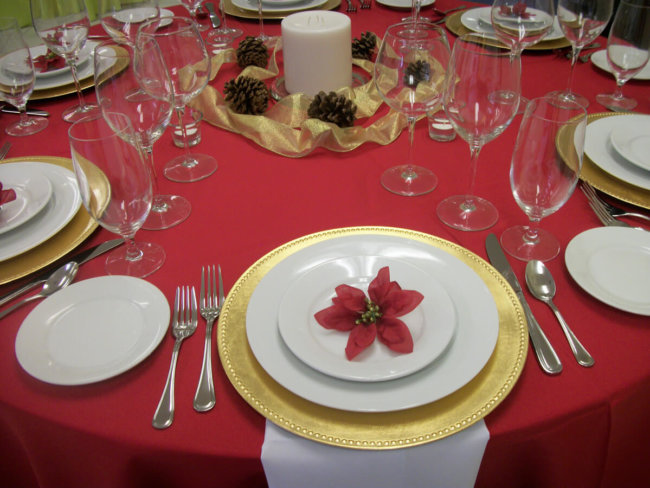 Red and Gold Themed Party Rentals