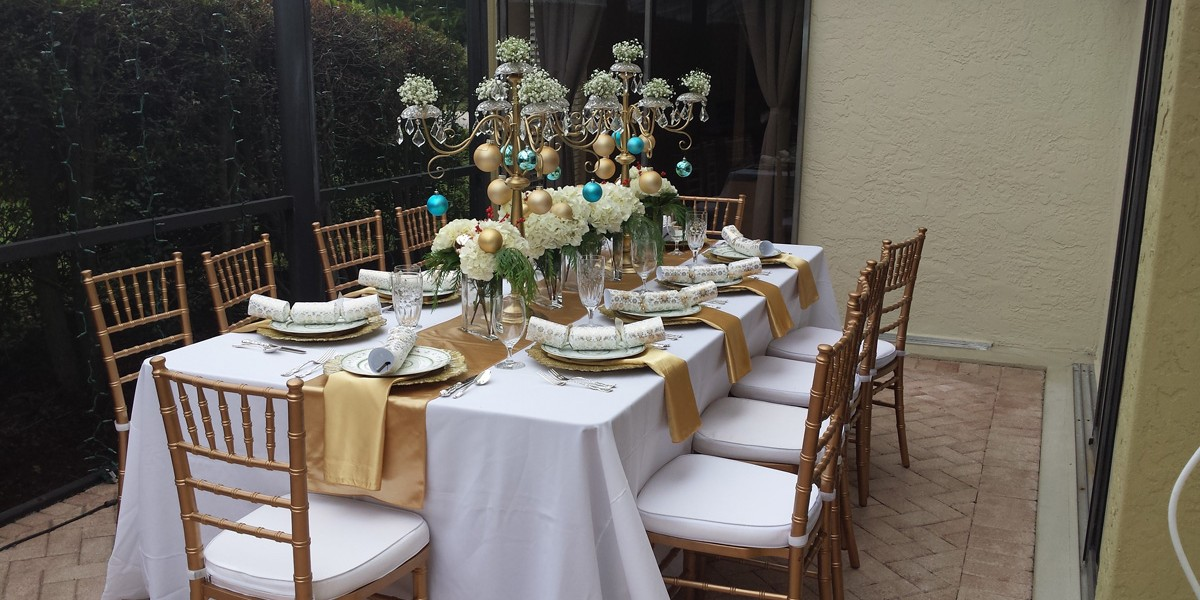 White and Gold Themed Party Rentals