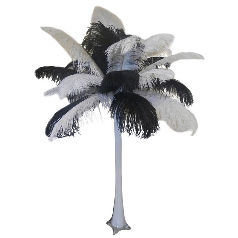 Black And White Ostrich Centerpiece With Eiffel Tower Vase