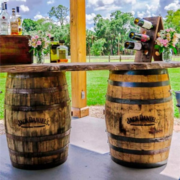 Jack Daniels Barrel Bar w/Wooden Planks